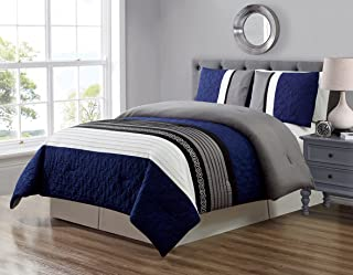 GrandLinen 3 Piece Navy Blue/Grey/Black/White Scroll Embroidery Bed in A Bag Down Alternative Comforter Set Queen Size Bedding. Perfect for Any Bed Room or Guest Room