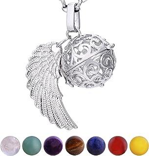 Morella Collana Donna Acciaio Inossidabile 70 cm con Ciondolo e 7 Sfere con Pietre preziose Gemme minerali in Un Sacchetto...