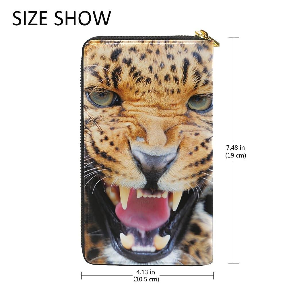 粉砕するハロウィンデータマキク(MAKIKU) 長財布 レディース 本革 大容量 ラウンドファスナー カード12枚収納 プレゼント対応 獰猛 凶暴 豹 かっこいい