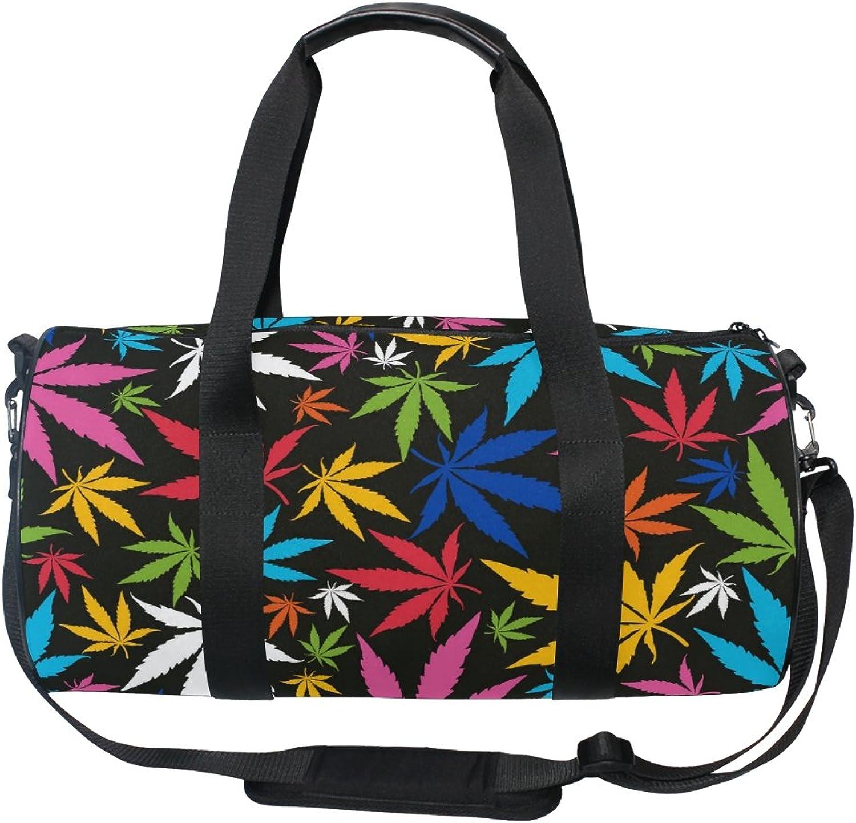 Cooper girl colorful Cannabis Leaves Duffels Bag Travel Sport Gym Bag