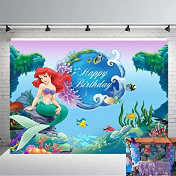 Zhy Mermaid Birthday Backdrop Under The Sea Birthday Background 7x5ft Vinyl Mermaid Shell Children Birthday Party Decoration Photo Studio Background Props