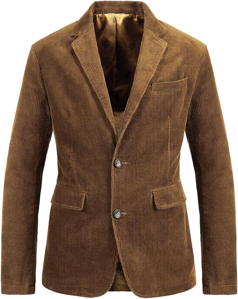 chouyatou Men's Vintage Casual Work Wear Corduroy Suit Blazer Jacket Sport Coat