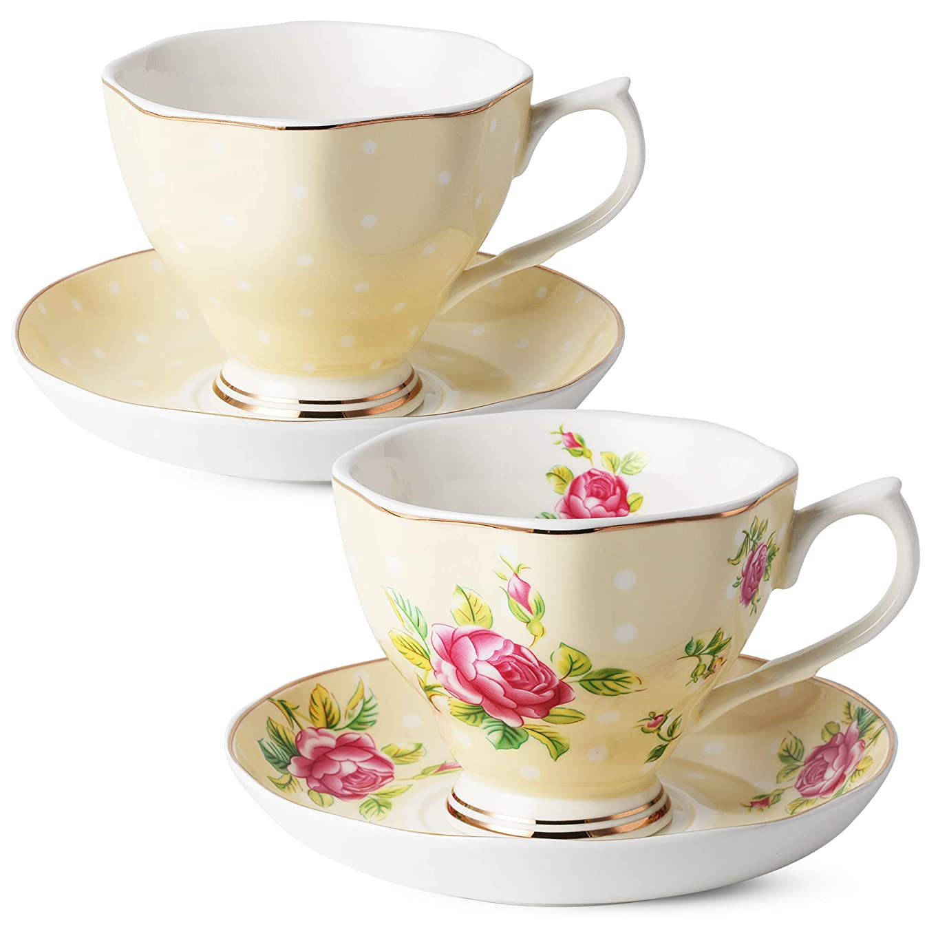 BT?T- Floral Tea Cups and Saucers, Set of 2 (Yellow - 8 oz) with Gold Trim and Gift Box, Coffee Cups, Floral Tea Cup Set, British Tea Cups, Porcelain Tea Set, Tea Sets for Women, Latte Cups