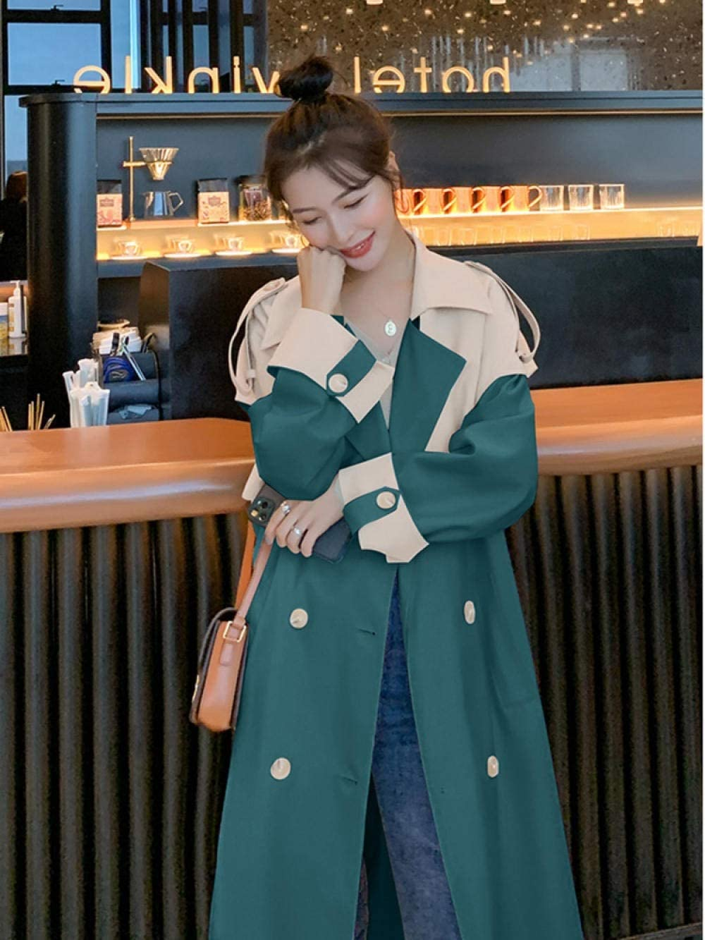 GZSZYA Women's Trench Coats Women's Long Trench Coat Loose and Chic Patchwork Over The Knee Street Trench Coat for Women (Color : Green, Size : XL)