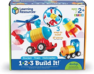Learning Resources LER2859 1-2-3 Build It! with Train, Rocket and Helicopter,15 Pieces,Multicolor