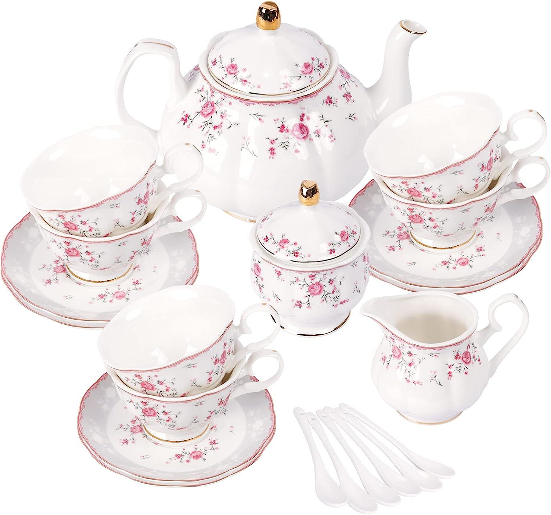 fanquare Juego de Té de Porcelana, Juego de Taza y Platillo, Juego de Té para 6 Personas, Tetera de Boda Azucarera Jarra de Crema, Juego de Café de China Floral, Rosa Roja