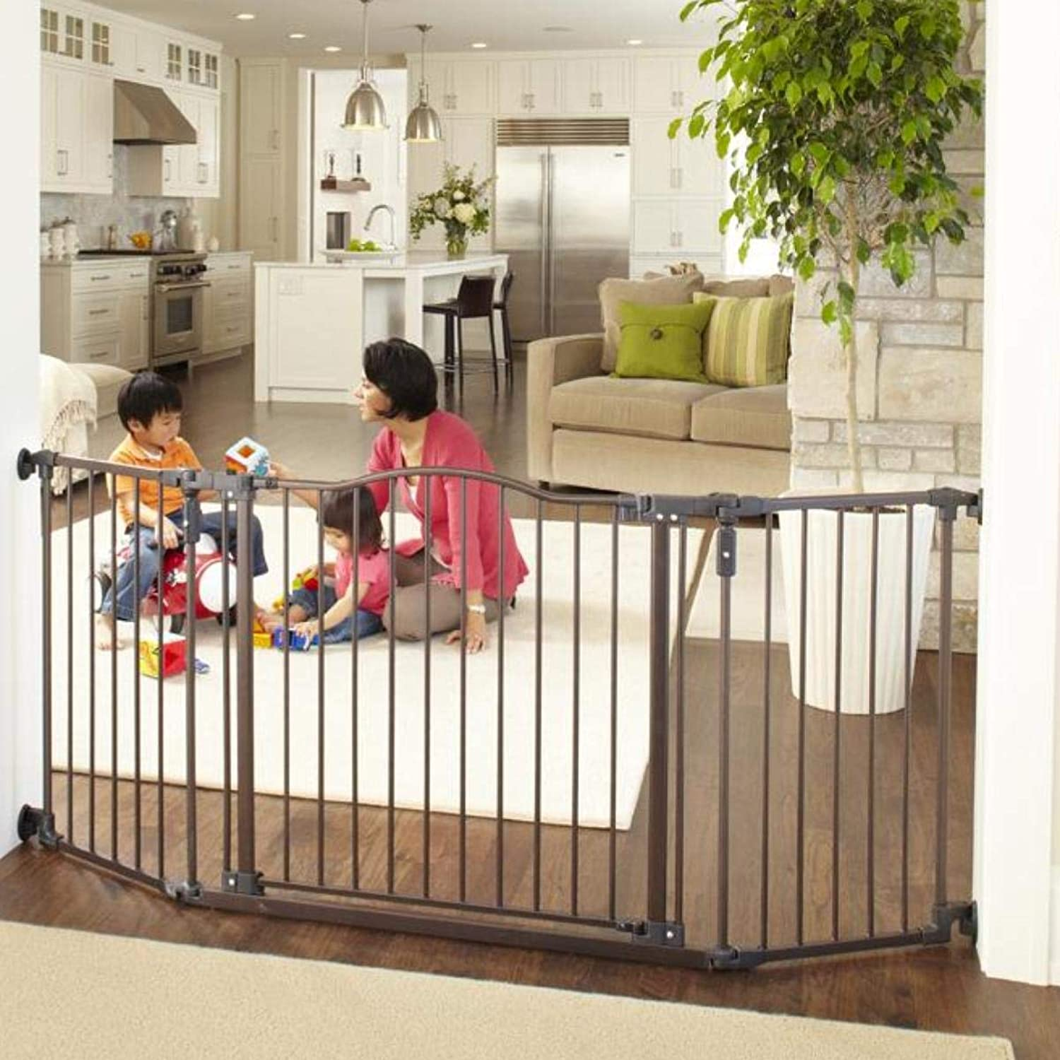 North States 72  Wide Deluxe Décor Baby Gate  Provides safety in extrawide spaces with added onehand functionality. Hardware mount. Fits 38.3 72  wide (30  tall, Bronze)