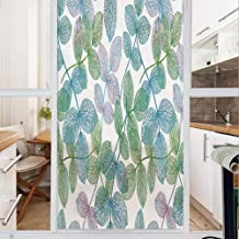 Decorative Window Film,No Glue Frosted Privacy Film,Stained Glass Door Film,Flowers Leaves Ivy Vein like Rainbow Ombre Colored Art Print,for Home & Office,23.6In. by 47.2In Light Blue Fern Green Purpl