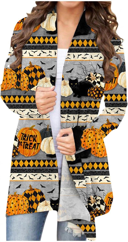 Gibobby Halloween Cardigan Sweaters for Women,Womens Long Sleeve Cute Pumpkin Cat Ghost Print Lightweight Open Front Top