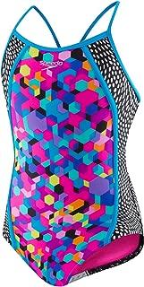 Speedo Girls Girls' Diamond geo Splice one Piece Swimsuit 7714713-P - Multicoloured - 10