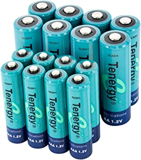 Tenergy High Drain AA and AAA Battery, 1.2V Rechargeable NiMH Batteries Combo, 8-Pack 2600mAh AA Cells and 8-Pack 1000mAH AAA Cell Batteries