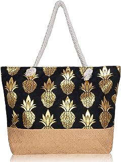 Large Women Beach Travel Tote Bag Premium Canvas Pineapple Printing Shoulder Bag Closure Top Zipper