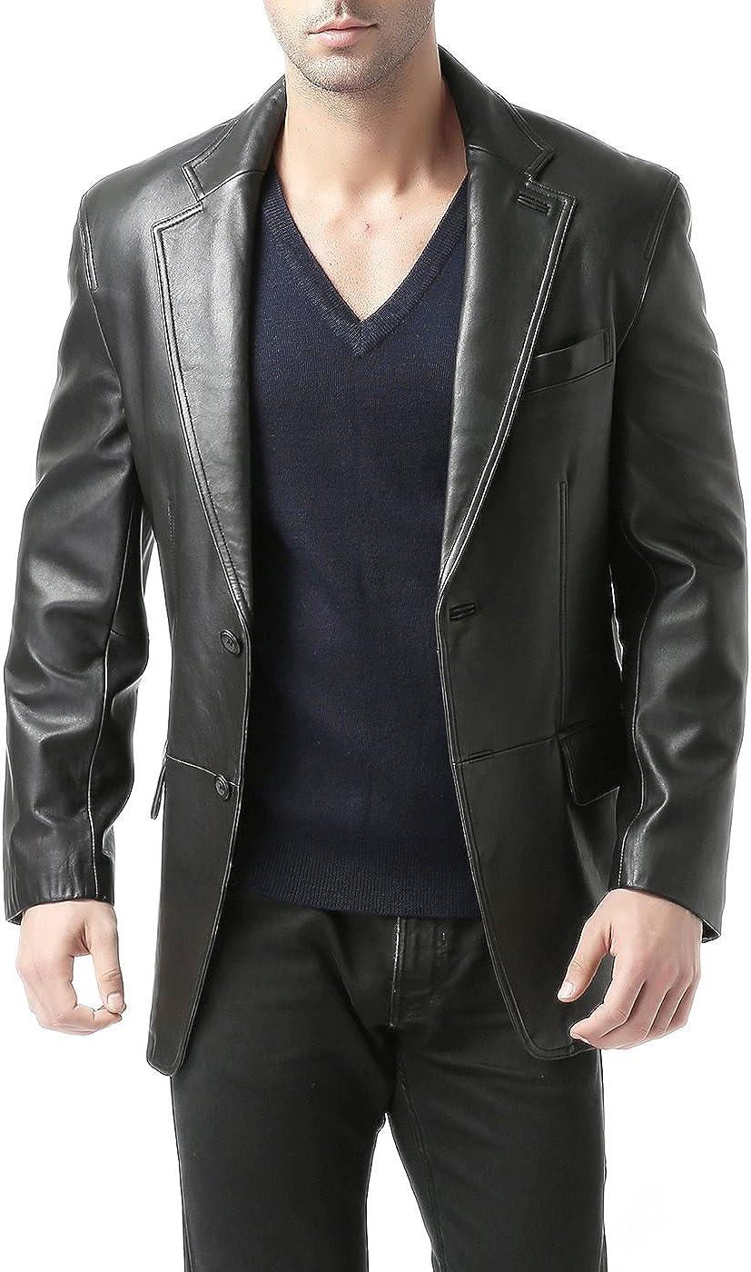 BGSD Men's Grant 2-Button Leather Blazer Lambskin Sport Coat Jacket Black Big and Tall 2XLT