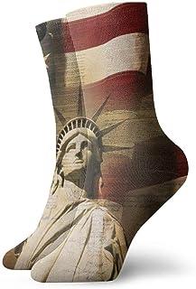 Uosliks, Vintage apenado bandera americana de Estados Unidos estatua de la libertad hombres niños deportes al aire libre calcetines, divertidos calcetines de vestir para todos los días