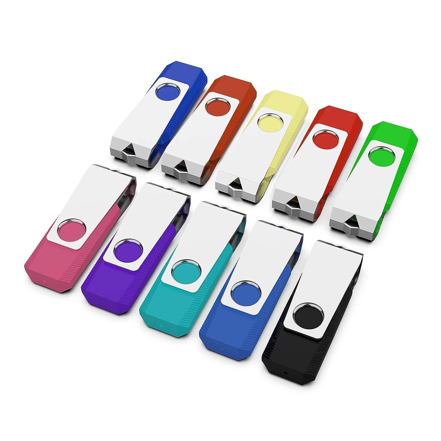 KEXIN USB Drive Bulk 10 Pack 32GB USB Flash Drive Thumb Drive Flash Drives Swivel Design USB 2.0 Color (32GB10PCS)