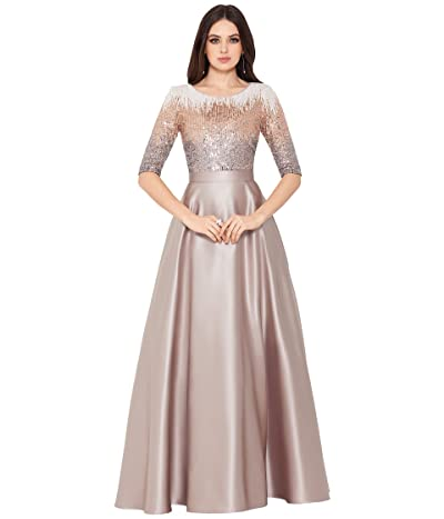 Betsy & Adam Long 3/4 Sequin A-Line Gown