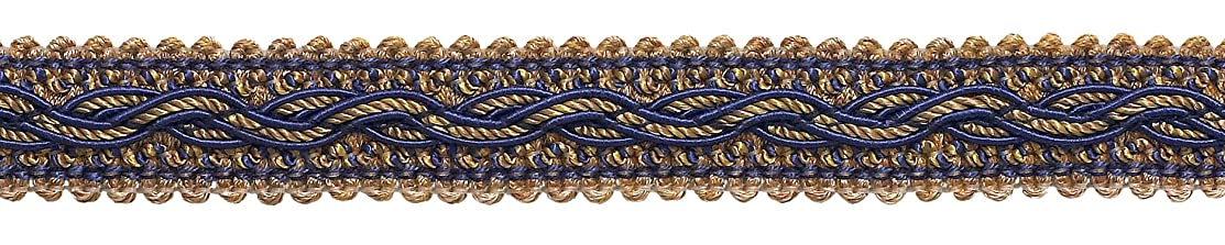 DecoPro 5 Yard Value Pack - NAVY BLUE TAUPE Baroque Collection Gimp Braid 7/8