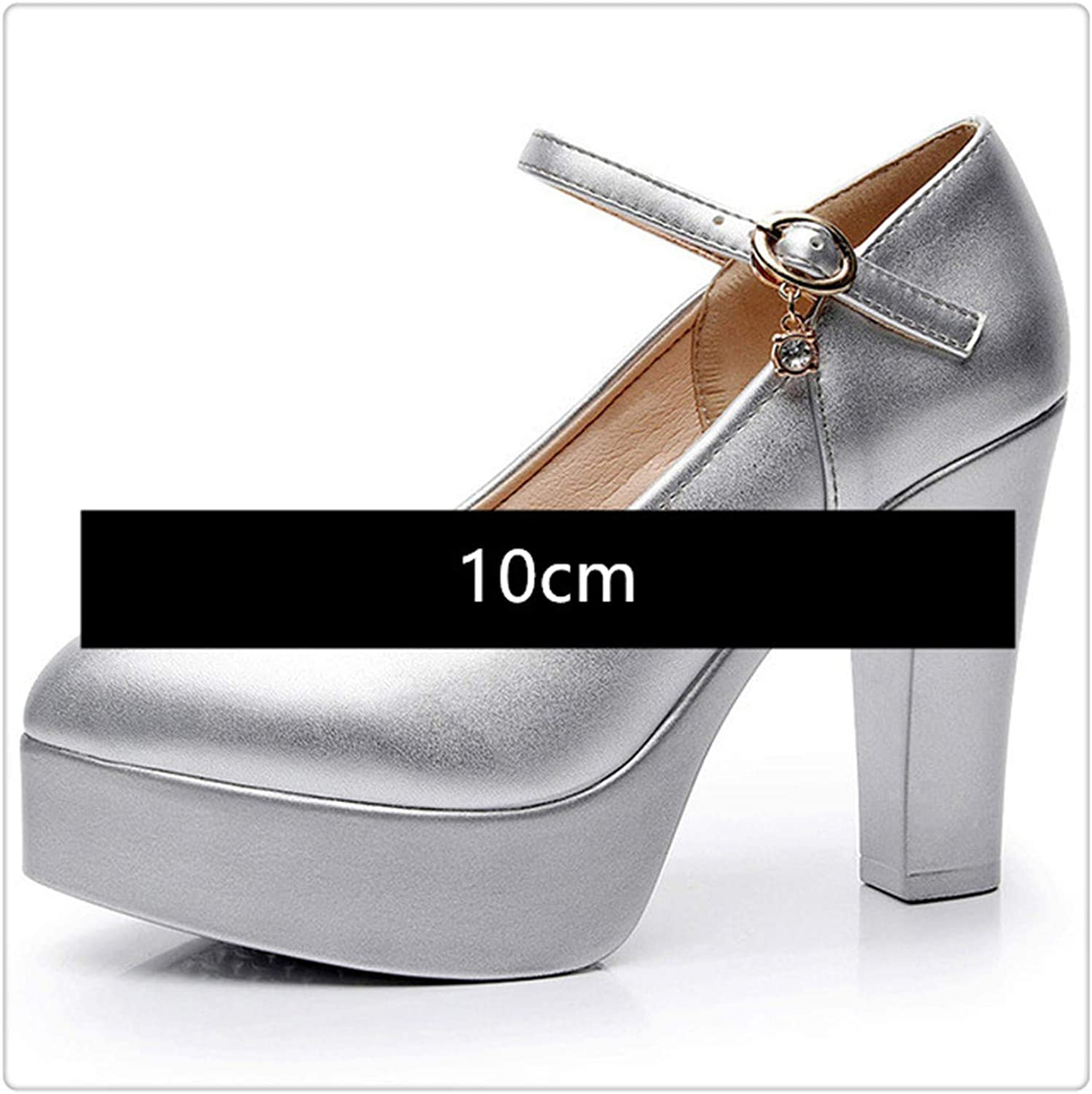 KKEPO& Women's Sandals 2019 Summer Leather High Heels Office shoes for Woman Fashion Square Heel Ladies Sandals Woman Platform shoes Silvery 10cm 38