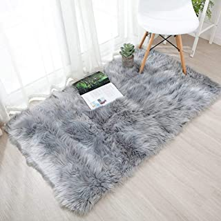 HLZHOU Faux Fur Soft Fluffy Single Sheepskin Style Rug Chair Cover Seat Pad Shaggy Area Rugs for Bedroom Sofa Floor (2.5x4 Feet(75X120cm), Square Gray)
