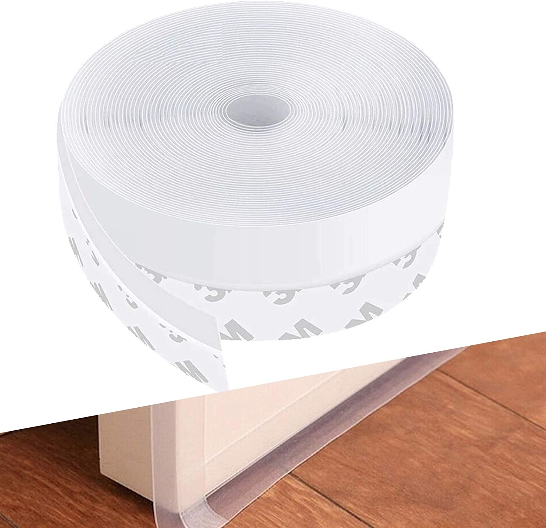 Adhesive Silicone Sealing Sticker for House//Glass Shower Door Gaps Door Draft Stopper for Doors Bottom//Windows 16.4 Feet, 35mm Width, Transparent Weather Stripping Door Seal Strip