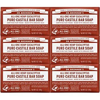 Dr. Bronner's - Pure-Castile Bar Soap (Eucalyptus, 5 ounce, 6-Pack) - Made with Organic Oils, For Face, Body and Hair, Gentle and Moisturizing, Biodegradable, Vegan, Cruelty-free, Non-GMO