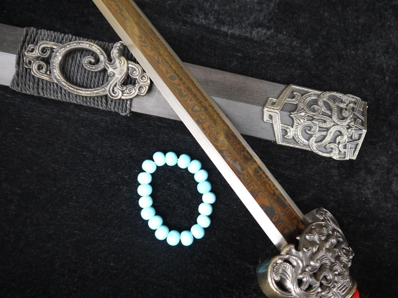 Han Dynasty Sword Handmade Industry No. 1 Sale SALE% OFF Art Damascus Blade Black S Steel Wood