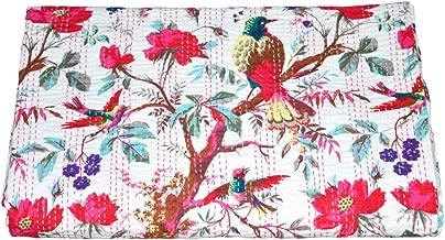 V Vedant Designs Bird Print Queen Kantha Quilt Queen Throw Blanket Bedpsread Indian Throw Vintage Quilt 90X108 Inch, White