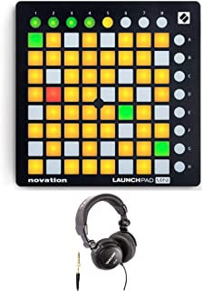 Novation Launchpad Mini MK2 Ableton Live Grid Controller with Closed Back Over-Ear Headphones