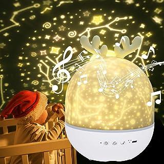 URAQT Lampara Proyector Infantil, Lámpara Proyector de Luz Nocturna Musical, Lámpara Nocturna de Rotación de Estrella con Control Remoto, 6 Modos Romántica luz de la Noche