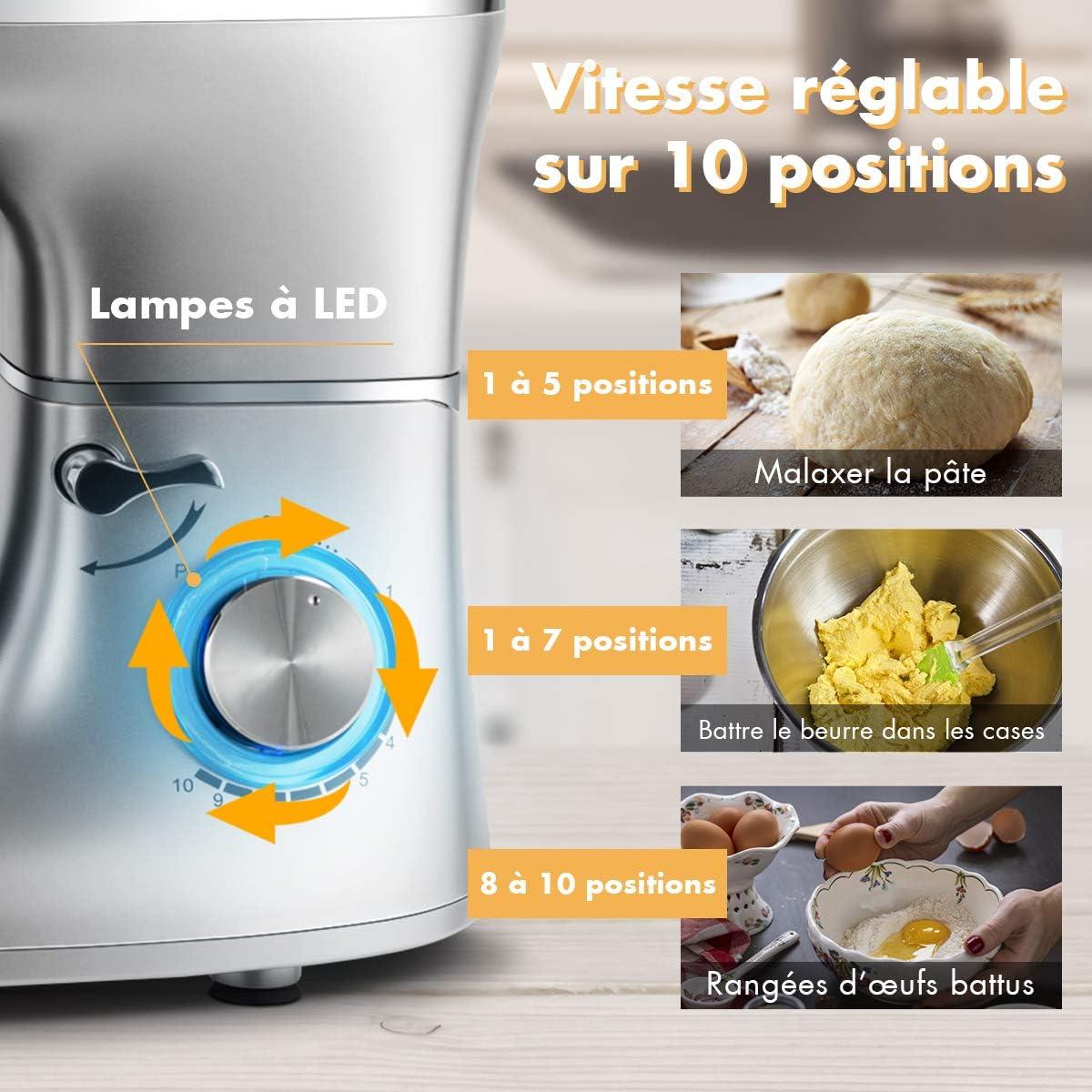DREAMADE Robot pâtissier 10 vitesses, crochet à pâte, batteur et fouet, mélange des aliments dans la cuisine avec le bol de 5,5 L et une lampe de led, argent (Noir) Argent