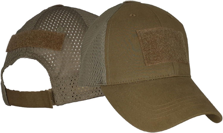 Coyote Brown 3 Hook & Loop Patch Hat / Blank Mesh Baseball Cap