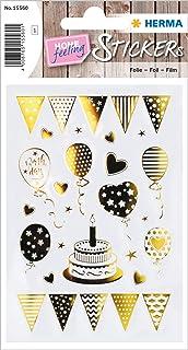 HERMA 15560 Creative Sticker Birthday Party Doré pour enfants, filles, garçons, mariage, anniversaire, cadeau, album phot...