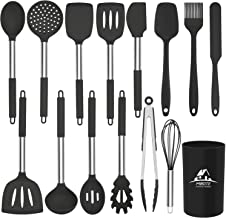 Mibote 15 Pcs Silicone Kitchen Utensils Set, Cooking Utensils Set with Heat Resistant BPA-Free Silicone and Stainless Stee...