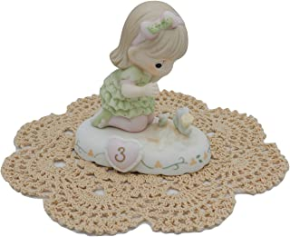 "Precious Moments ""Growing in Grace"" Girl/Female Collectible Figurines with Westbraid Doily (Age 3, Brunette Hair)"