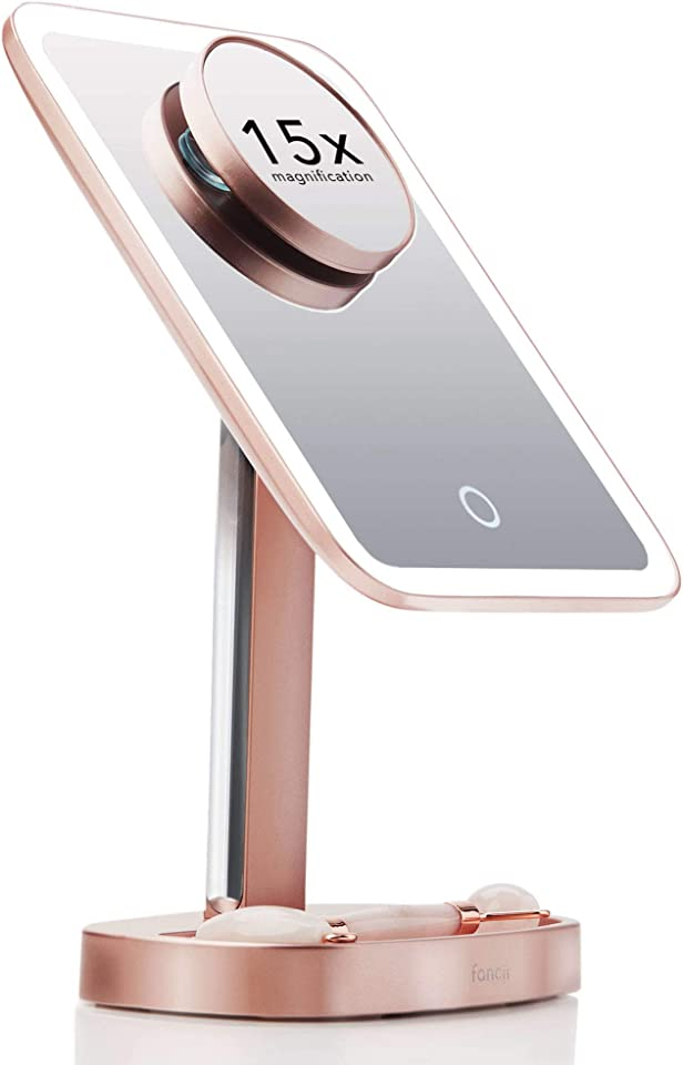 Fancii LED Makeup Vanity Mirror with 3 Light Setting and 15x Magnifying Mirror - Choose Between Soft Warm, Natural Daylight, or Neutral White Lights - Dimmable Cosmetic Mirror - Aura (Rose Gold)