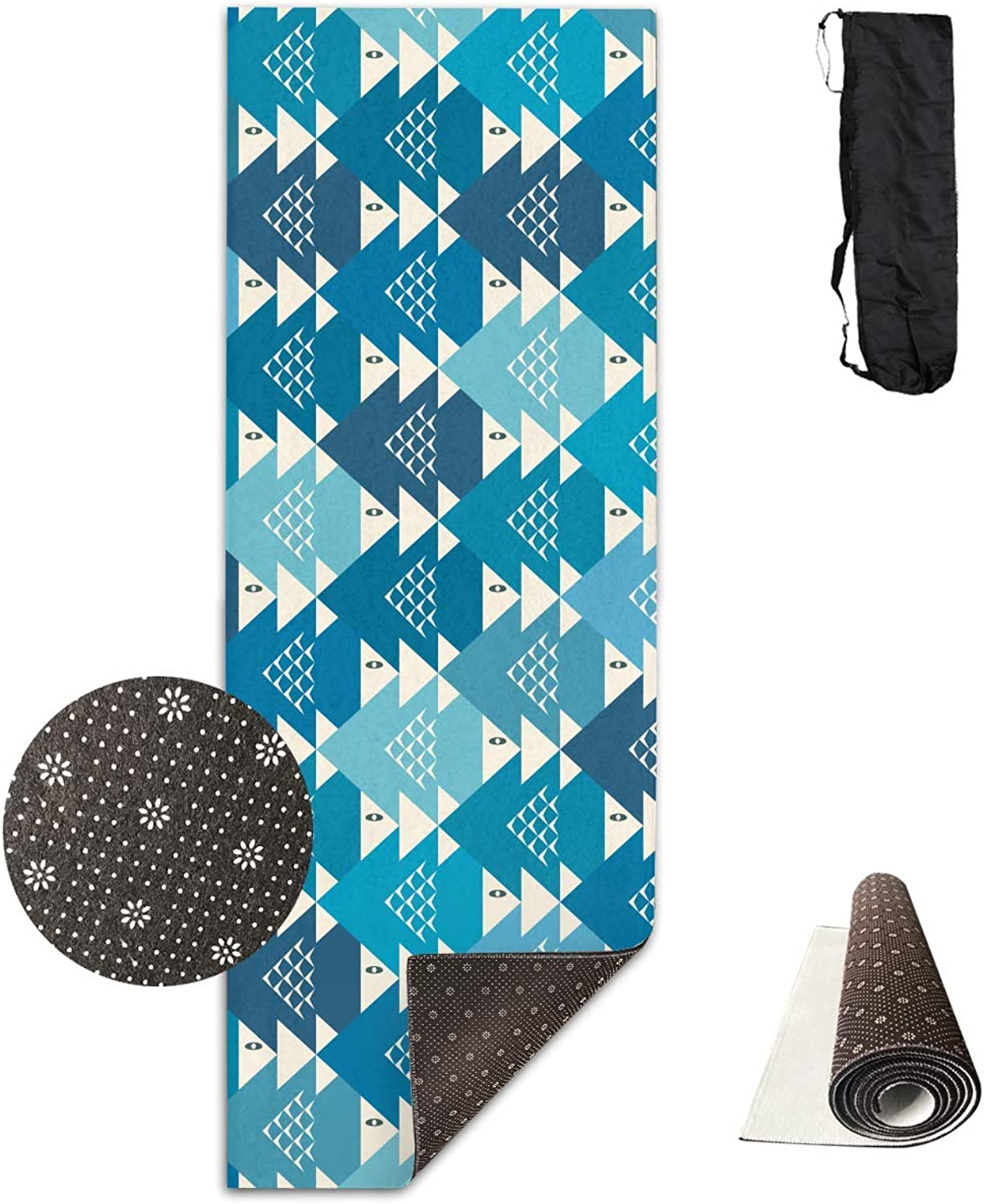 blueee Geometric Polygonal Triangle Pattern Yoga Mat  Advanced Yoga Mat  NonSlip Lining  Easy to Clean  LatexFree  Lightweight and Durable  Long 180 Width 61cm