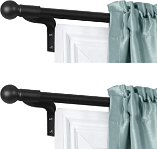 Sponsored Ad - Zenna Home, Black, Smart Measuring Easy Install Adjustable Café Window, 48 to 120 in, with Ball Finials, 2-...