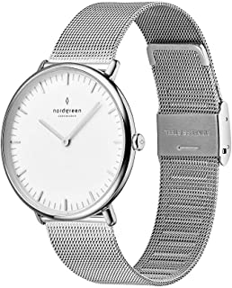 Native Scandinavian Silver Analog Watch with Leather or Mesh Interchangeable Straps