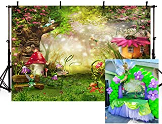 MEHOFOTO Enchanted Forest Photo Background Fairy Tale Magic Big Tree Mushroom Princess Girl Birthday Party Decorations Banner Backdrops for Photography 7x5ft