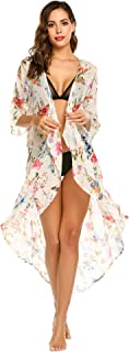 Ekouaer Women's Chiffon Cardigan 3 4 Sleeves Kimono Beach High Low Long Floral Cover Up
