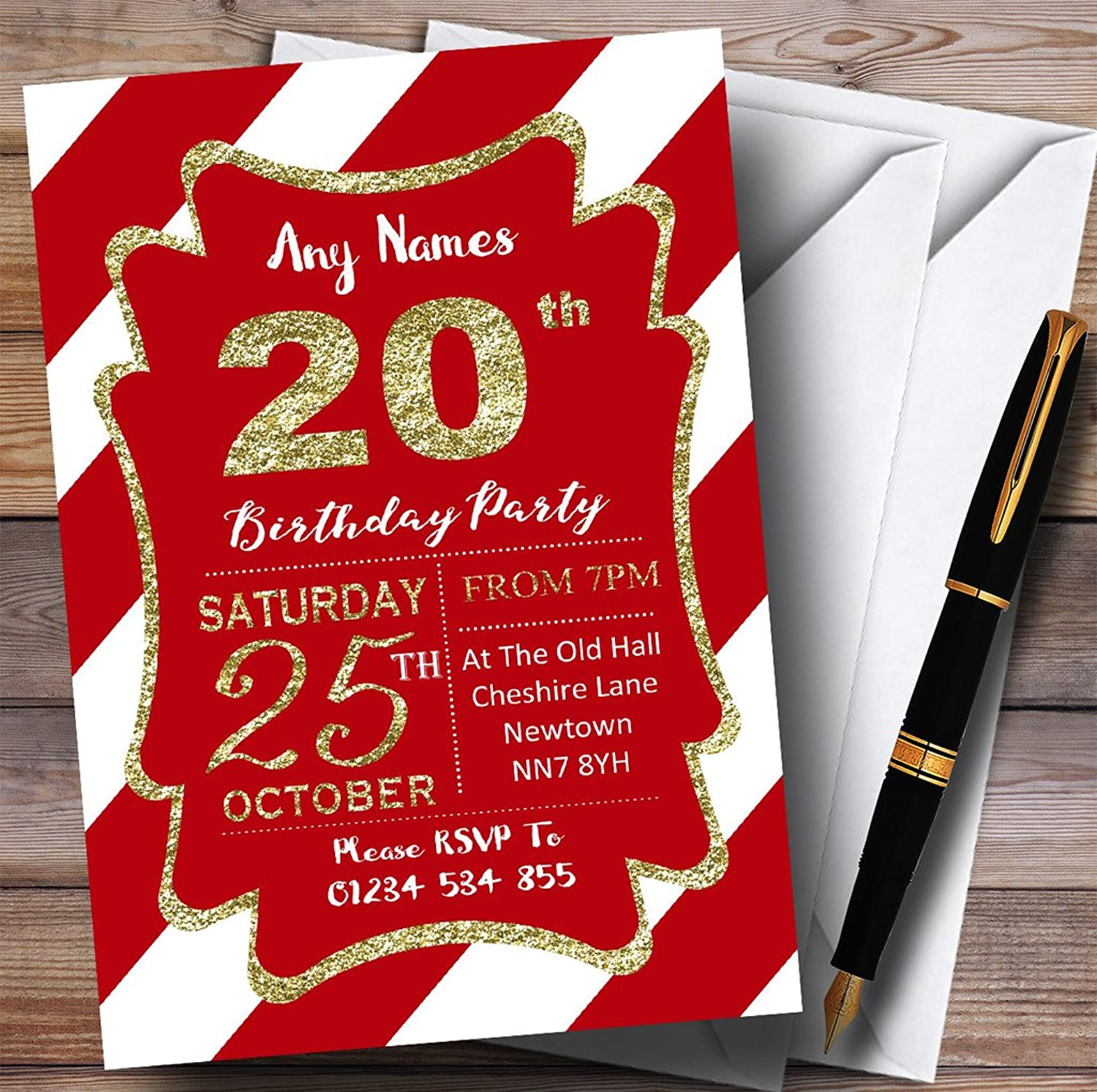 Red White Diagonal Stripes gold 20th Personalised Birthday Party Invitations