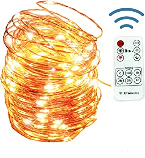 12APM Dimmable USB Plug Powered Fairy String Lights, 66 ft/200 LEDs with Remote and Timer, Copper Wire Starry Lights, USB ...