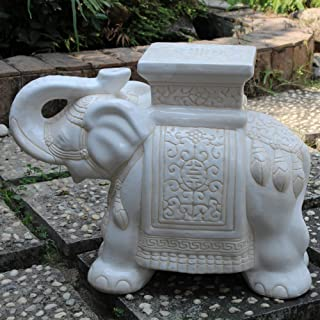 International Caravan Furniture Piece Large Porcelain Elephant Stool