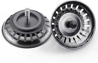Universal Siebkörbchen Spüle Abflusssieb 3,5 Zoll 7,9cm, 2 STÜCKE Spülbecken Sieb mit Zapfen, Edelstahl