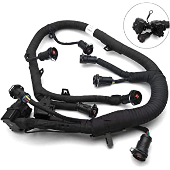Black Engine Fuel Injector Complete Wire with Pigtail Wiring Harness Fits Ford Powerstroke 6.0L Diesel Replace 5C3Z9D930A 5C3Z-9D930-A