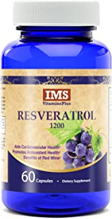 Resveratrol 1200mg Supplement – Probiotic Blend with Grape Seed, Green Tea and Acai Berry for Maximum Antioxidant, Skin Care and Anti-Aging Benefits - 30 Day Supply - 60 Veggie Capsules