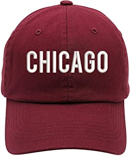TOP LEVEL APPAREL Chicago Text Embroidered Low Profile Soft Crown Unisex Baseball Dad Hat