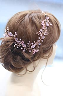Missgrace Bridal Rose Gold Crystal Hair Vine Wedding Vintage Headband Birthday Crown Women Party Halloween Hair Accessories Wedding Hair Jewelry Wedding Hair Accessories