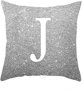 YTI English Alphabet Throw Pillow Covers Sofa Car Cushion Cover Home Decorative Pillowcase 18x18inch (J)