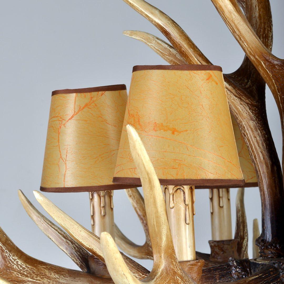 SXGDX Antlers Vintage-Stil Harz Landschaft Pendelleuchte,Amerikanische Ländliche Geweih Kronleuchter Esstisch Pendellampe,4 Lichter M-antike Farbe